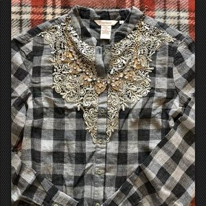 Sundance Catalog $98 lace buffalo check blouse M